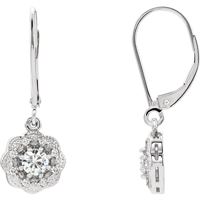 Gorgeous 14 Karat White Gold 4mm Round Genuine Charles Colvard Forever One Moissanite & 0.12 Carat Total Weight Diamond Earrings
