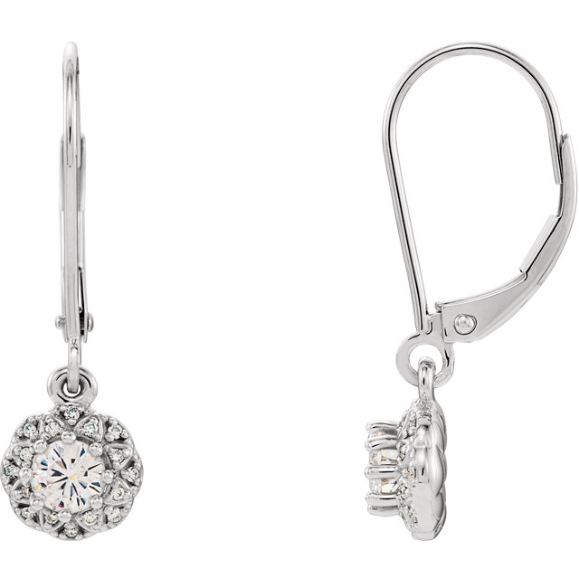 Great Gift in 14 Karat White Gold 4mm Round Genuine Charles Colvard Forever One Moissanite & 0.12 Carat Total Weight Diamond Earrings