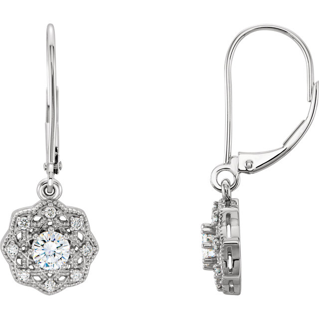 Beautiful 14 Karat White Gold 4mm Round Genuine Charles Colvard Forever One Moissanite & 0.12 Carat Total Weight Diamond Earrings