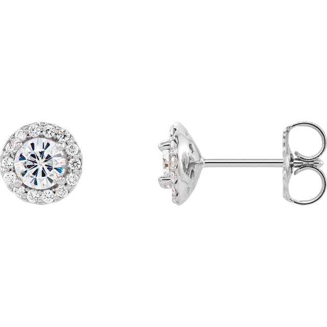 Stunning 14 Karat White Gold 4mm Round Genuine Charles Colvard Forever One Moissanite and 0.12 Carat Total Weight Diamond Earrings