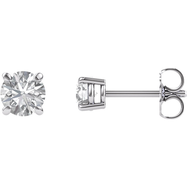 Great Deal in 14 Karat White Gold 4mm Round Genuine Charles Colvard Forever One Moissanite Earrings