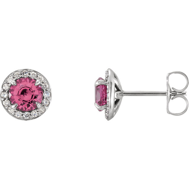 Perfect Gift Idea in 14 Karat White Gold 4mm Round Tourmaline & 0.12 Carat Total Weight Diamond Earrings
