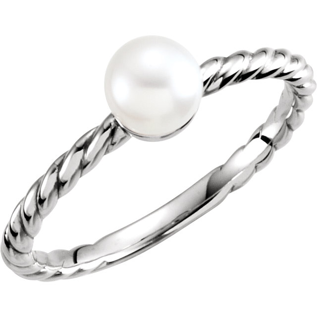 Buy Real 14 KT White Gold 5.5-6mm Freshwater Cultured Pearl Ring