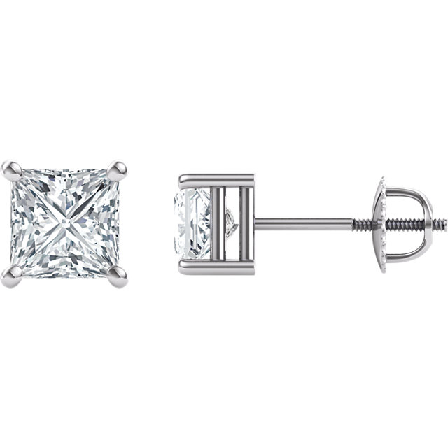 Perfect Jewelry Gift 14 Karat White Gold 5.5mm Square Genuine Charles Colvard Forever One Moissanite Earrings