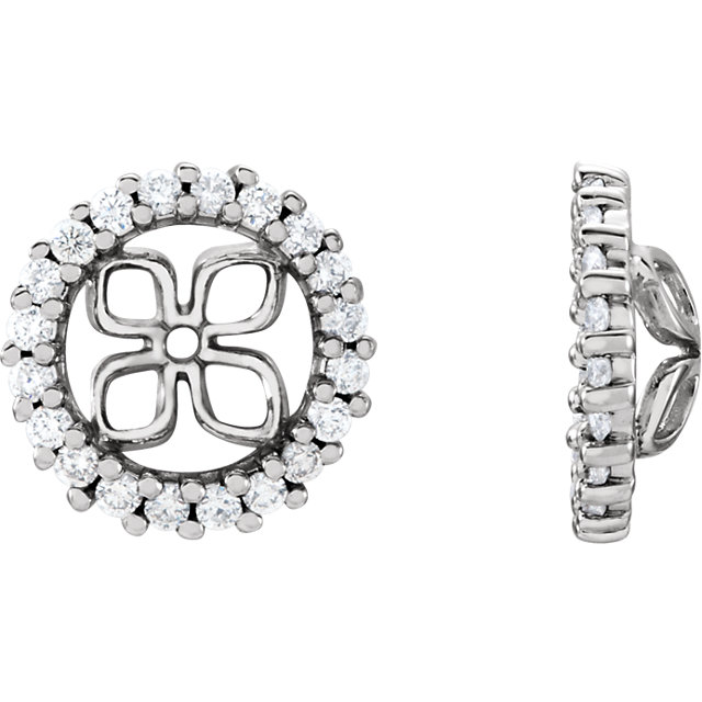 Great Buy in 14 Karat White Gold 0.60 Carat Total Weight Diamond Earring Jackets for Pearl