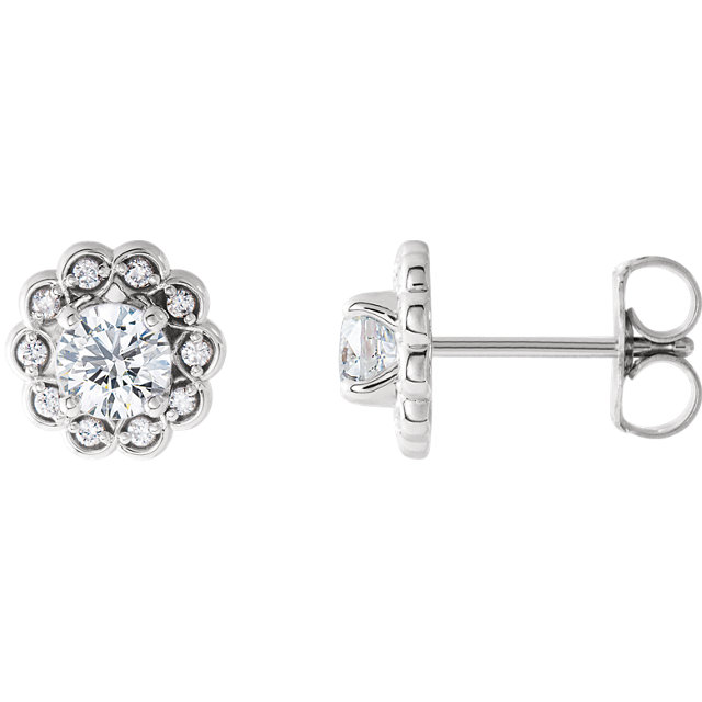 Quality 14 KT White Gold 0.60 Carat TW Diamond Halo-Style Earrings