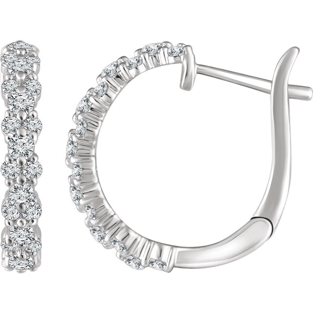 Chic 14 Karat White Gold 0.60 Carat Total Weight Diamond Hoop Earrings