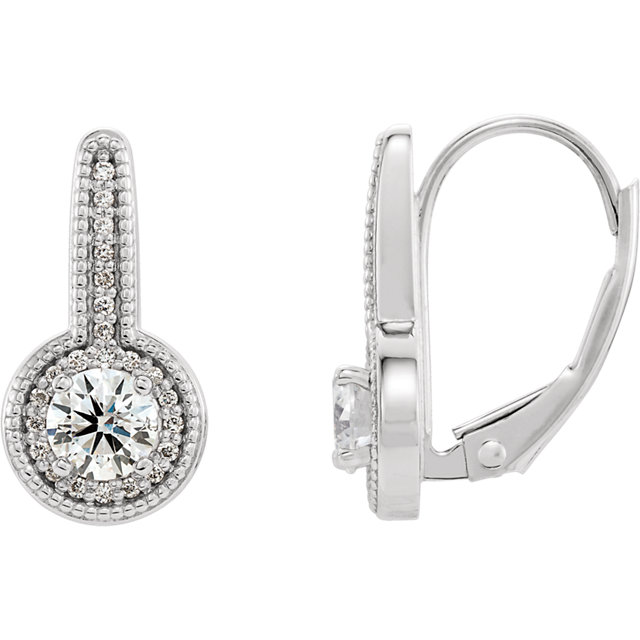 Fine Quality 14 Karat White Gold 0.60 Carat Total Weight Diamond Milgrain Halo-Style Dangle Earrings