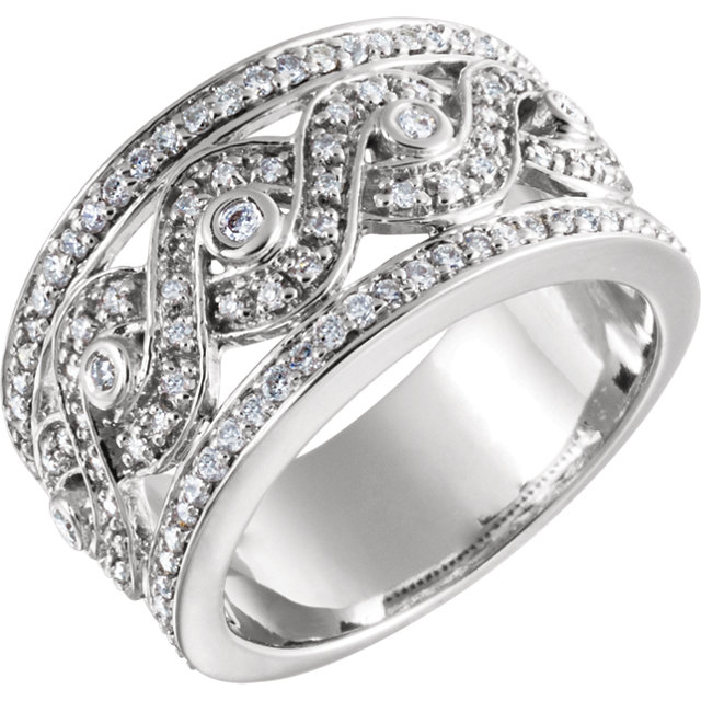 White Diamond Ring in 14 Karat White Gold 5/8 Carat Round Diamond Openwork Infinity-Inspired Band