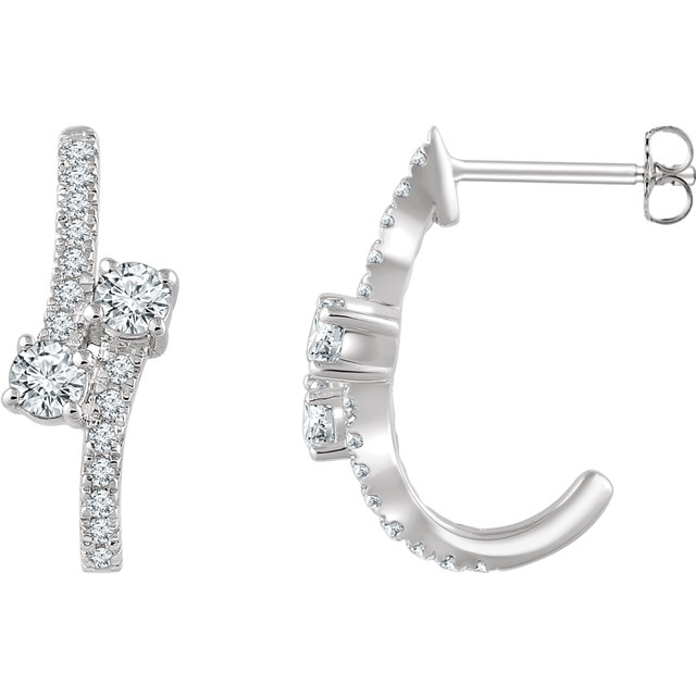 Easy Gift in 14 Karat White Gold 0.60 Carat Total Weight Diamond Two-Stone Earrings