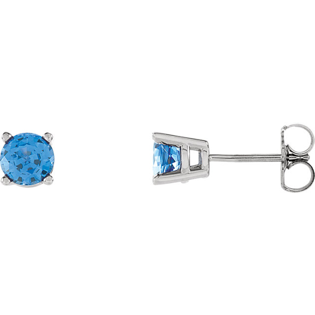 Low Price on Quality 14 KT White Gold 5mm Round Genuine Chatham Created Created Blue Sapphire FriCaration Post Stud Earrings