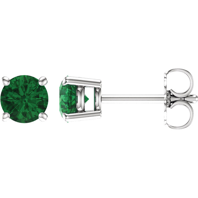 Genuine 14 Karat White Gold 5mm Round Genuine Chatham Emerald Earrings
