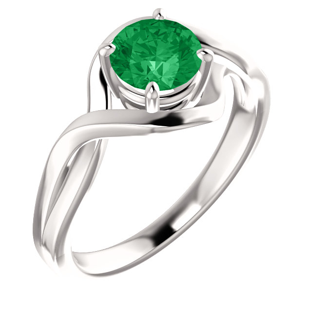14 Karat White Gold Genuine Chatham Lab-Grown Emerald Ring