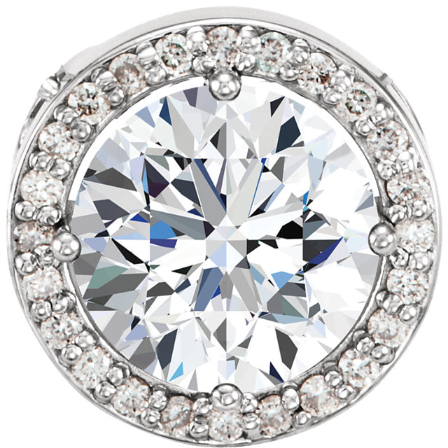 Wonderful 14 Karat White Gold 5mm Round Forever One™ Moissanite & .06 Carat Total Weight Diamond 16-18