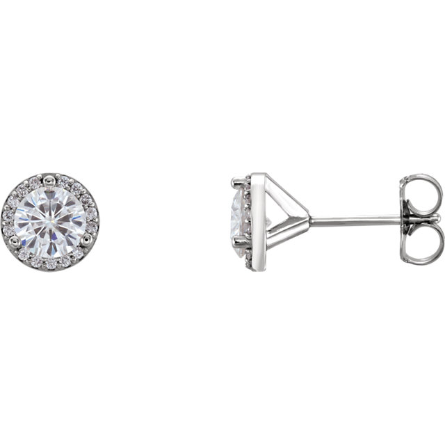 Eye Catchy 14 Karat White Gold 5mm Round Genuine Charles Colvard Forever One Moissanite & 0.10 Carat Total Weight Diamond Earrings