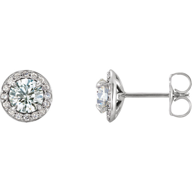 Beautiful 14 Karat White Gold 5mm Round Genuine Charles Colvard Forever One Moissanite & 0.12 Carat Total Weight Diamond Earrings