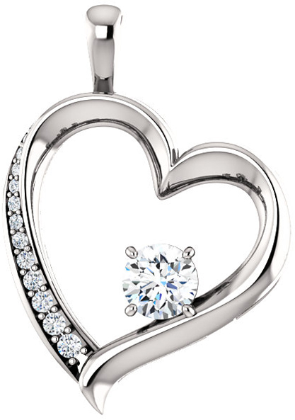 14 Karat White Gold 5mm Round Forever One Moissanite & 1/8 Carat Total Weight Diamond Pendant