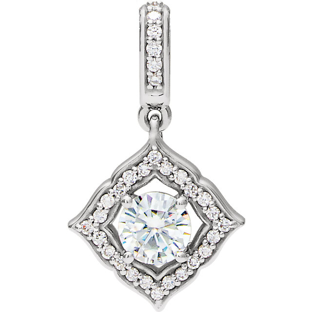Easy Gift in 14 Karat White Gold 5mm Round Forever One™ Moissanite & 0.12 Carat Total Weight Diamond Pendant