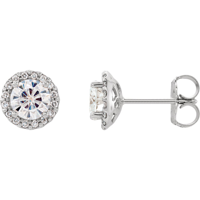 Chic 14 Karat White Gold 5mm Round Forever One Moissanite and 0.125 Carat Total Weight Diamond Earrings