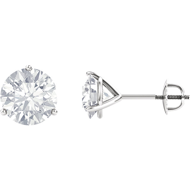 Fine Quality 14 Karat White Gold 5mm Round Genuine Charles Colvard Forever One Moissanite Earrings
