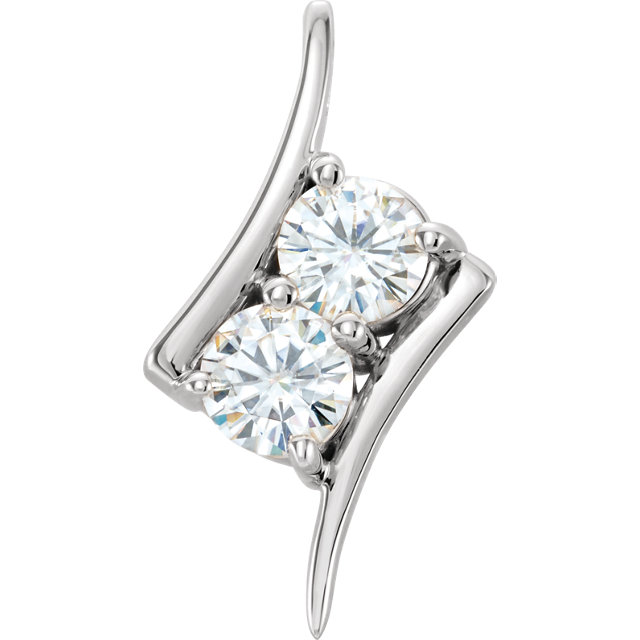 Great Buy in 14 Karat White Gold 5mm Round Forever One™ Moissanite Pendant