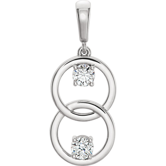 Perfect Jewelry Gift 14 Karat White Gold 5mm Round Forever One™ Moissanite Pendant
