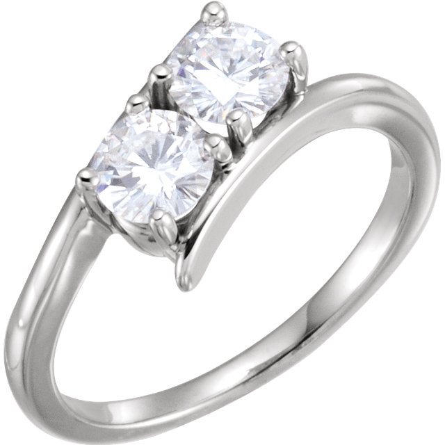Eye Catchy 14 Karat White Gold 5mm Round Genuine Charles Colvard Forever One Moissanite Ring