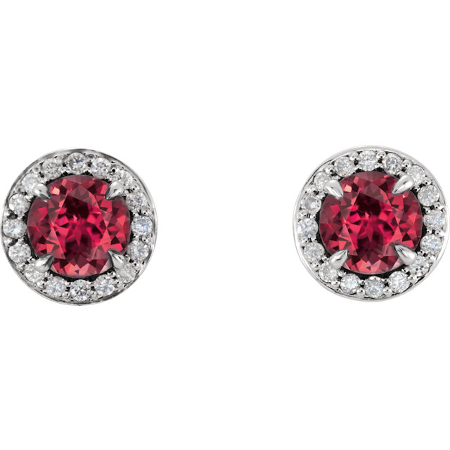 Beautiful 14 Karat White Gold 5mm Round Ruby & 0.17 Carat Total Weight Diamond Earrings