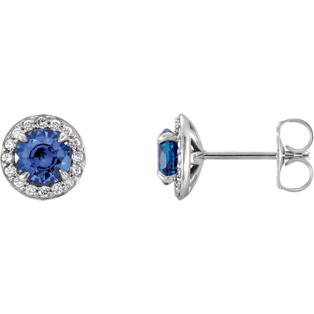 Great Gift in 14 Karat White Gold 5mm Round Sapphire & 0.17 Carat Total Weight Diamond Earrings