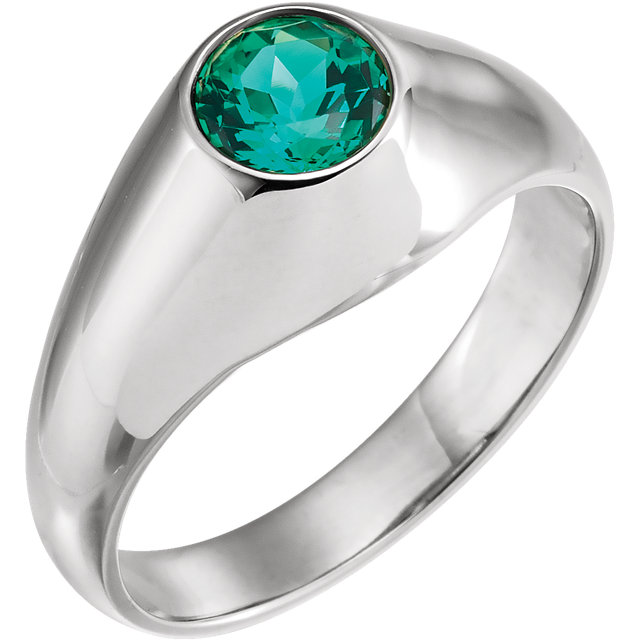 Great Buy in 14 Karat White Gold 6.5mm Round Genuine Chatham Created Created Emerald Ring