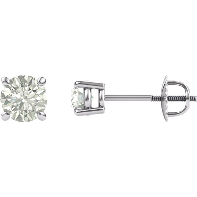 Must See 14 Karat White Gold 6.5mm Round Genuine Charles Colvard Forever One Created Moissanite Earrings