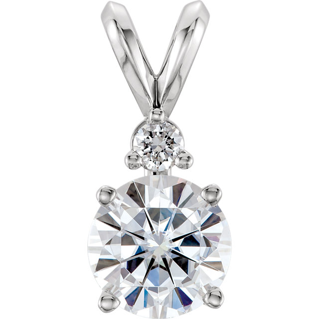 Stunning 14 Karat White Gold 6.5mm Round Genuine Charles Colvard Forever One Moissanite & .05 Carat Total Weight Diamond Pendant