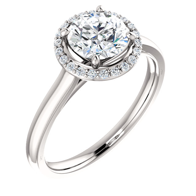 Chic 14 Karat White Gold 6.5mm Round Genuine Charles Colvard Forever One Moissanite & 0.10 Carat Total Weight Diamond Ring