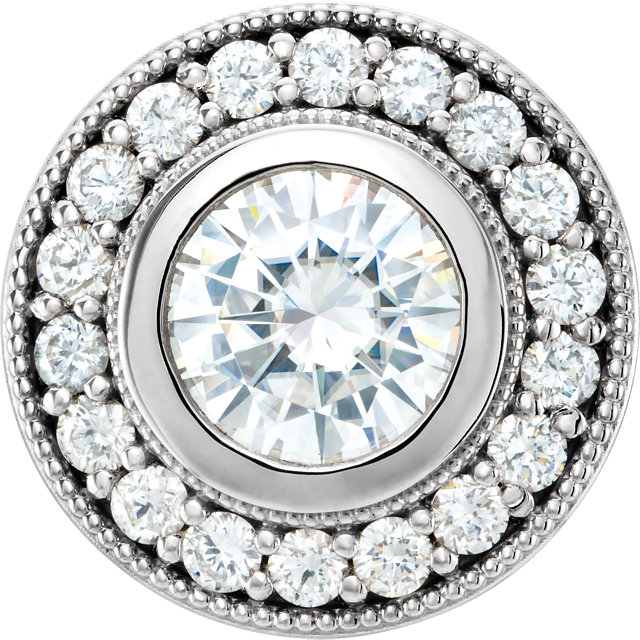 Great Deal in 14 Karat White Gold 6.5mm Round Genuine Charles Colvard Forever One Moissanite & 0.33 Carat Total Weight Diamond Pendant