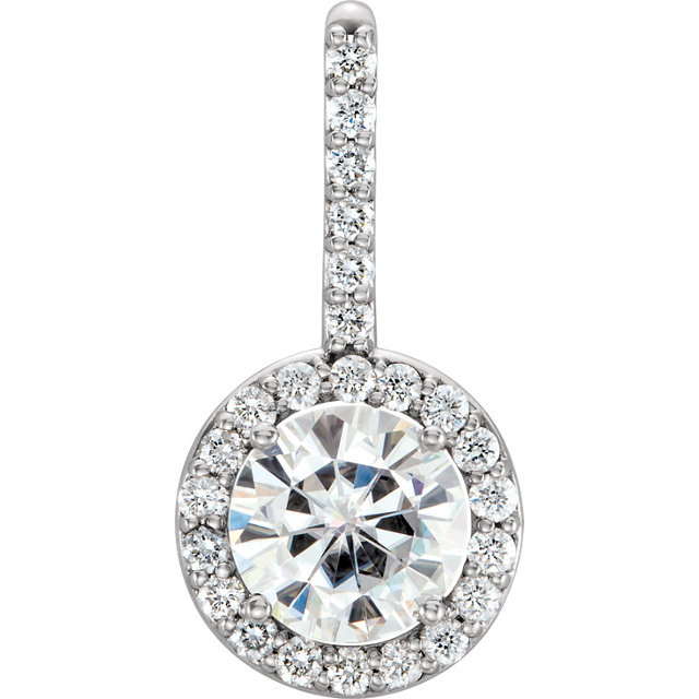 Perfect Gift Idea in 14 Karat White Gold 6.5mm Round Genuine Charles Colvard Forever One Moissanite & 0.25 Carat Total Weight Diamond Pendant