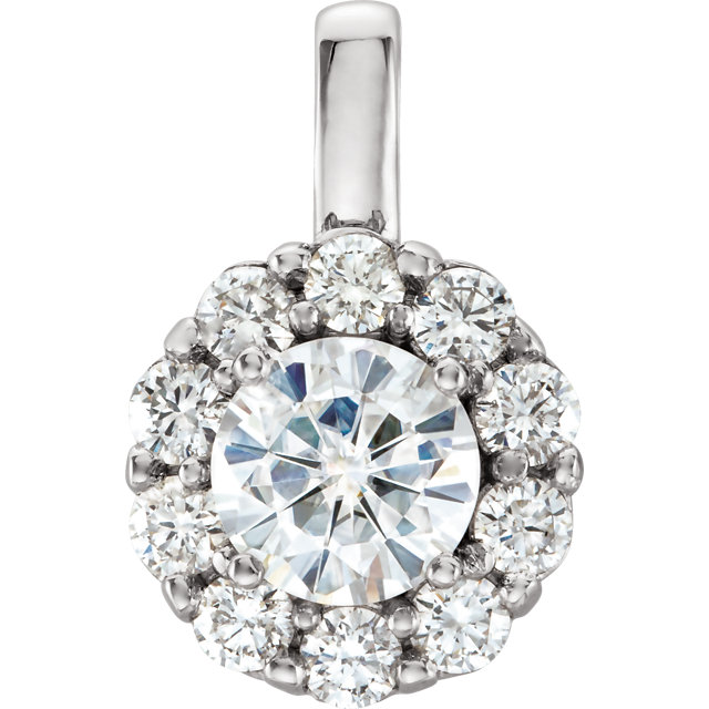 Great Gift in 14 Karat White Gold 6.5mm Round Forever One™ Moissanite & 0.60 Carat Total Weight Diamond 16-18