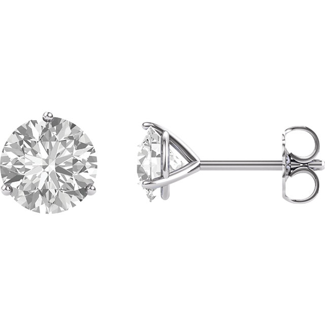 Appealing Jewelry in 14 Karat White Gold 6.5mm Round Genuine Charles Colvard Forever One Moissanite Earrings