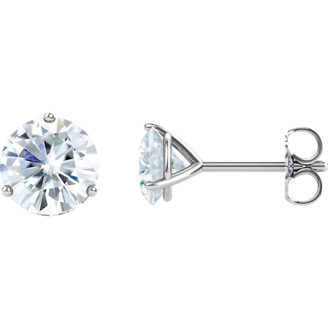Surprise Her with  14 Karat White Gold 6.5mm Round Genuine Charles Colvard Forever One Moissanite Earrings