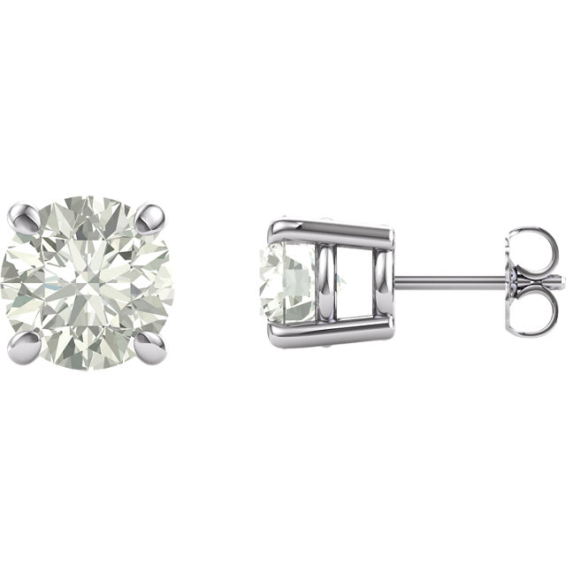 Very Nice 14 Karat White Gold 6.5mm Round Genuine Charles Colvard Forever One Moissanite Earrings