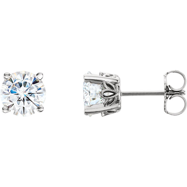 Great Buy in 14 Karat White Gold 6.5mm Round Genuine Charles Colvard Forever One Moissanite Earrings