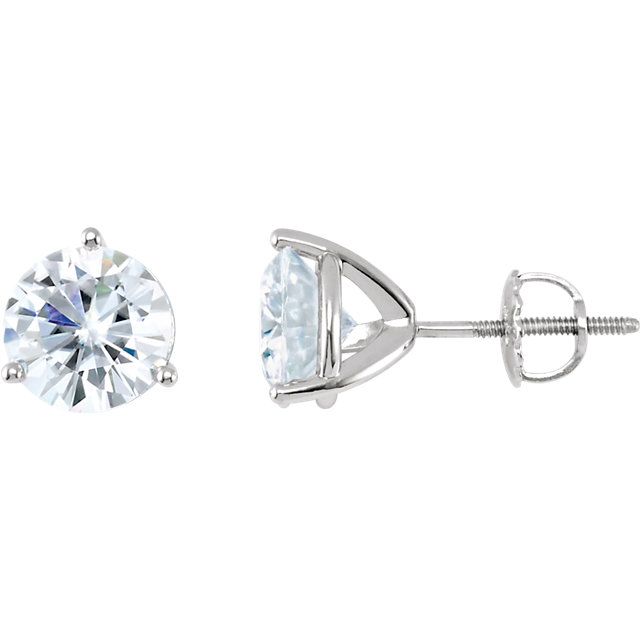 Perfect Jewelry Gift 14 Karat White Gold 6.5mm Round Genuine Charles Colvard Forever One Moissanite Earrings