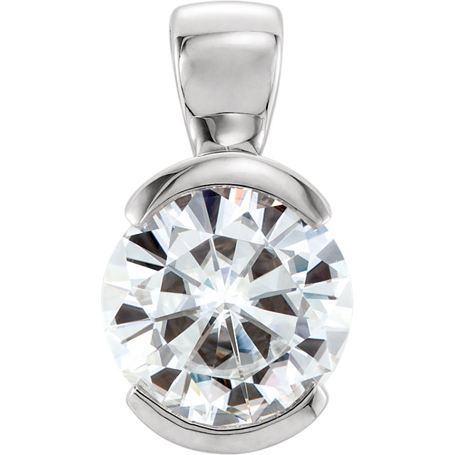 Perfect Gift Idea in 14 Karat White Gold 6.5mm Round Genuine Charles Colvard Forever One Moissanite Pendant