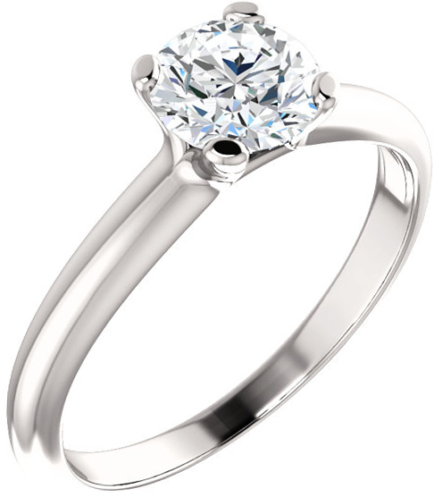 14 Karat White Gold 6.5mm Round Forever One Moissanite Ring
