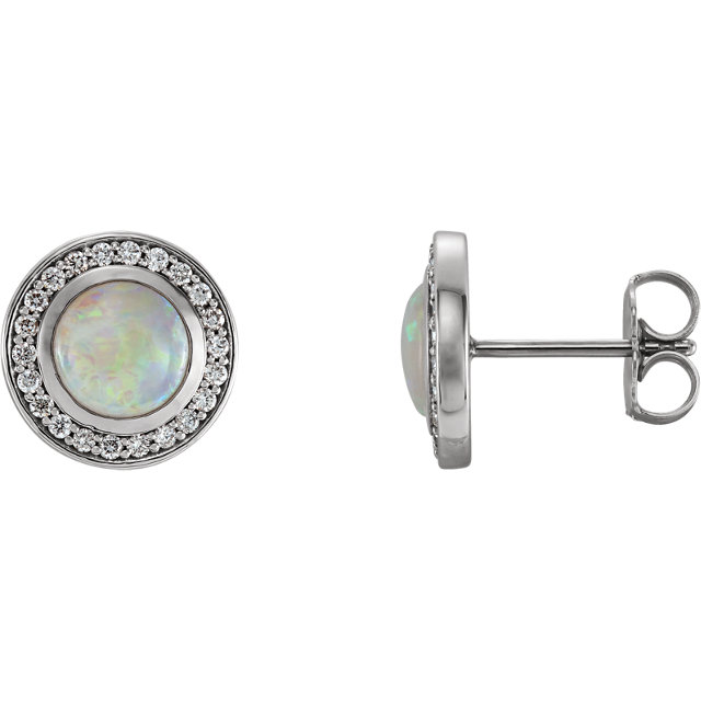 Stunning 14 Karat White Gold 6mm Opal & 0.20 Carat Total Weight Diamond Halo-Style Earrings
