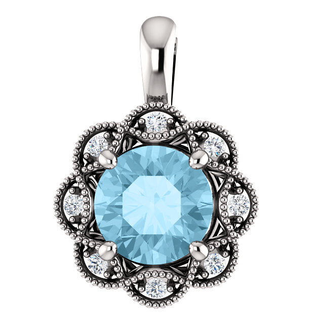 Perfect Gift Idea in 14 Karat White Gold 6mm Round Aquamarine & .04 Carat Total Weight Diamond Pendant