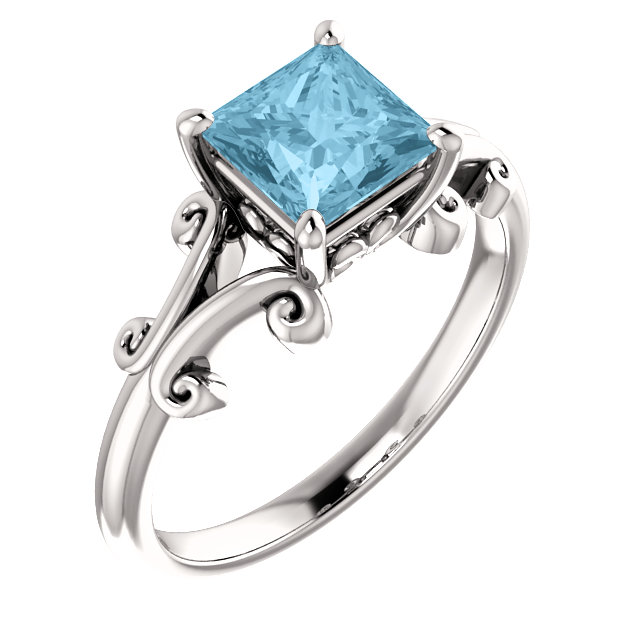 Wonderful 14 Karat White Gold 6mm Round Aquamarine Ring