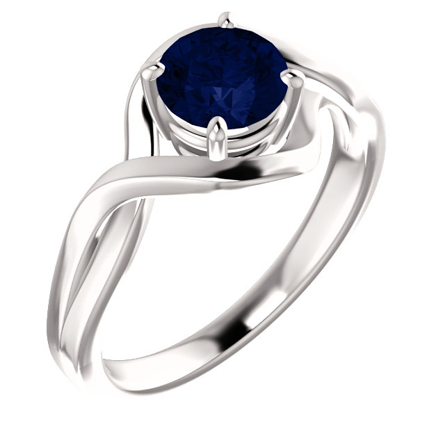 Shop 14 Karat White Gold Genuine Chatham Lab-Grown Blue Sapphire Ring