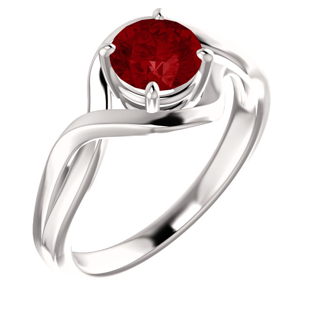 Genuine 14 Karat White Gold Genuine Chatham Lab-Grown Ruby Ring