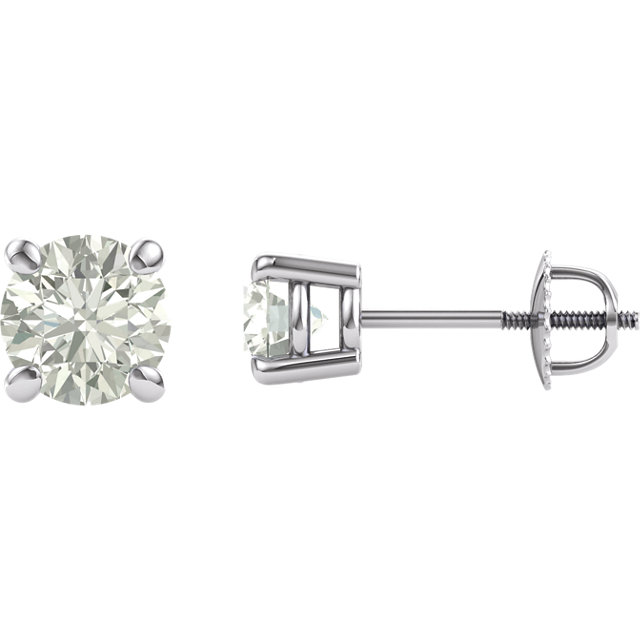 Very Nice 14 Karat White Gold 6mm Round Genuine Charles Colvard Forever One Created Moissanite Earrings