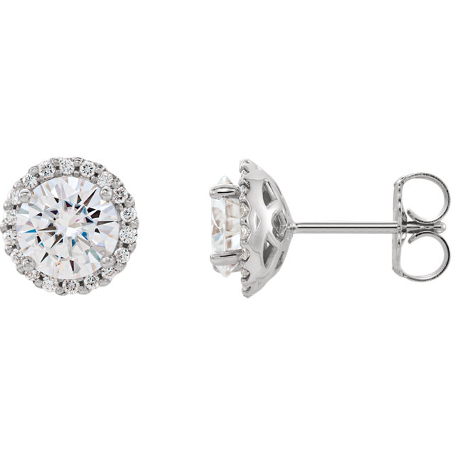 Gorgeous 14 Karat White Gold 6mm Round Genuine Charles Colvard Forever One Moissanite and 0.12 Carat Total Weight Diamond Earrings